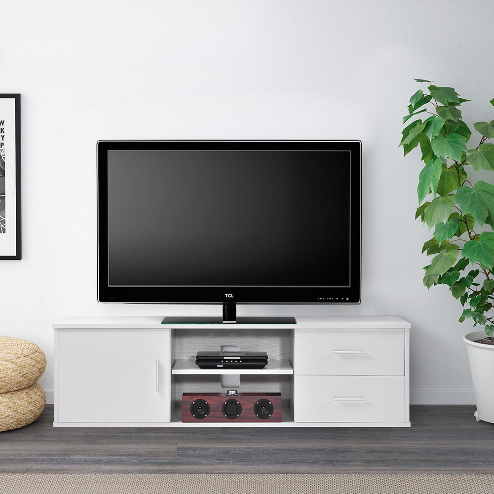 Ej. Life Wooden Single-door TV Stand TV Unit Storage Console with two Drawer,White