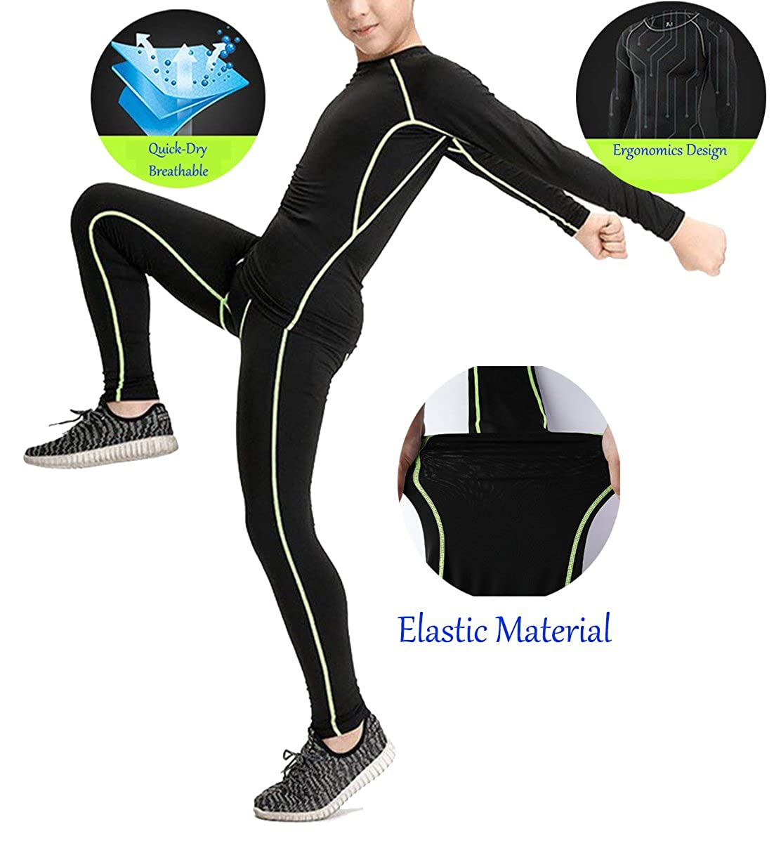 Kids Quick Dry Base Layer Thermal Underwear Compression Shirts and Pant 2 Pcs