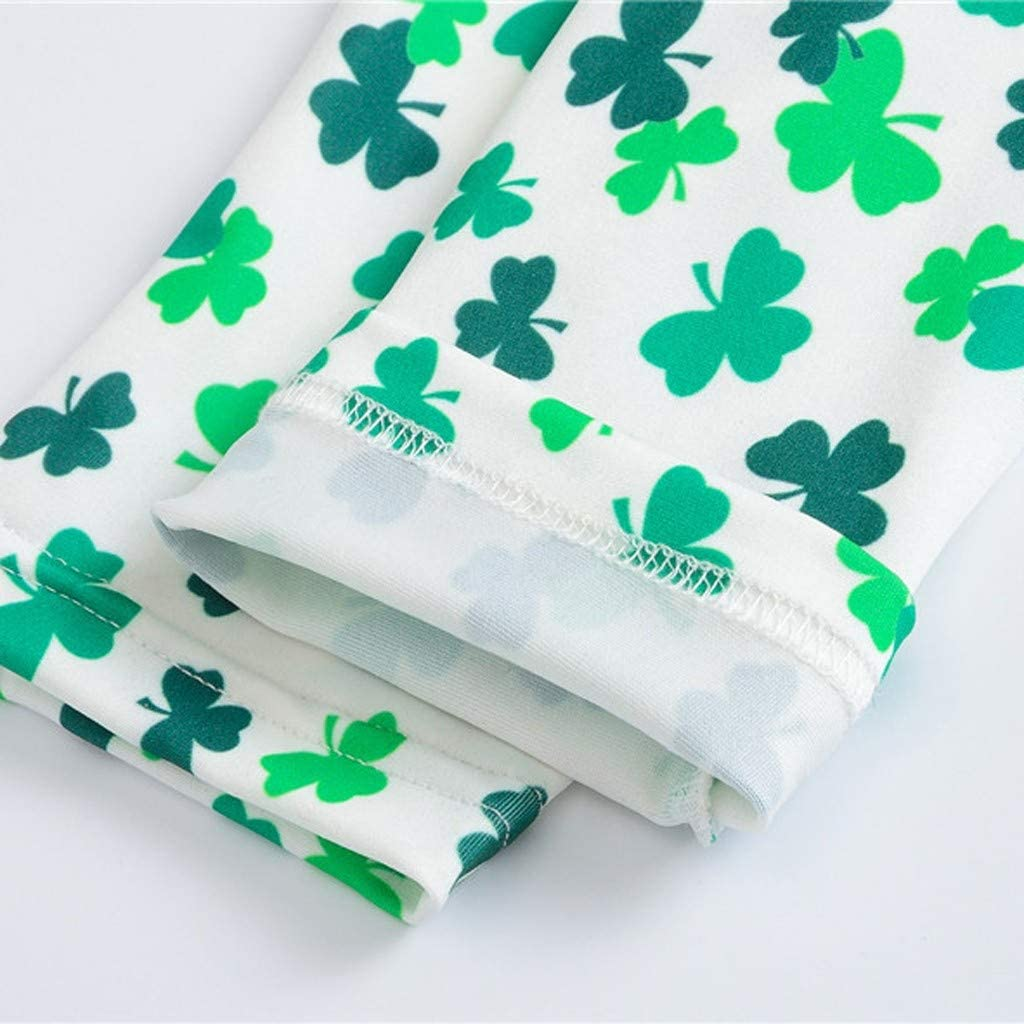 Lenfesh Toddler Baby Kids Girls Boys St Patricks Day Shamrock Irish National Day Pants for 2-9 Years Old