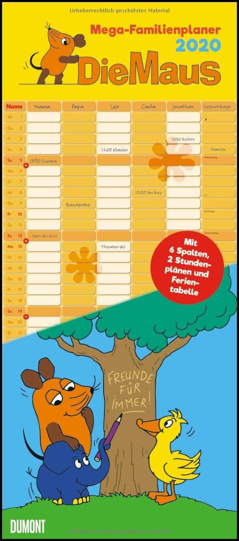 Die Maus 2020 – DUMONT Mega Familienkalender Mit 6 Spalten – Familienplaner Mit 2 Stundenplänen Und Ferientabelle – Hochformat 300 X 685 Cm  Zur Sendung Mit Der Maus