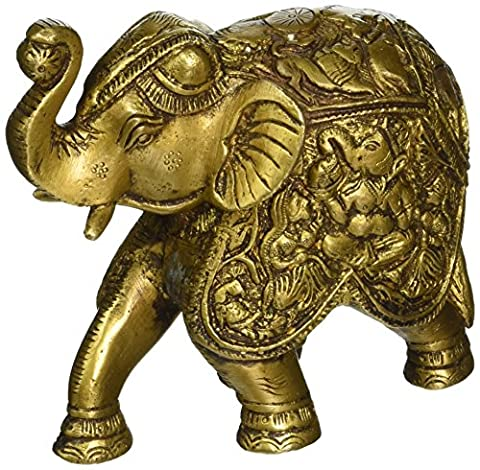 Saluting Elephant Ornament Indian Animal Figurine Sculpture Brass 4.75 Inch (Indian Gold Ornaments)