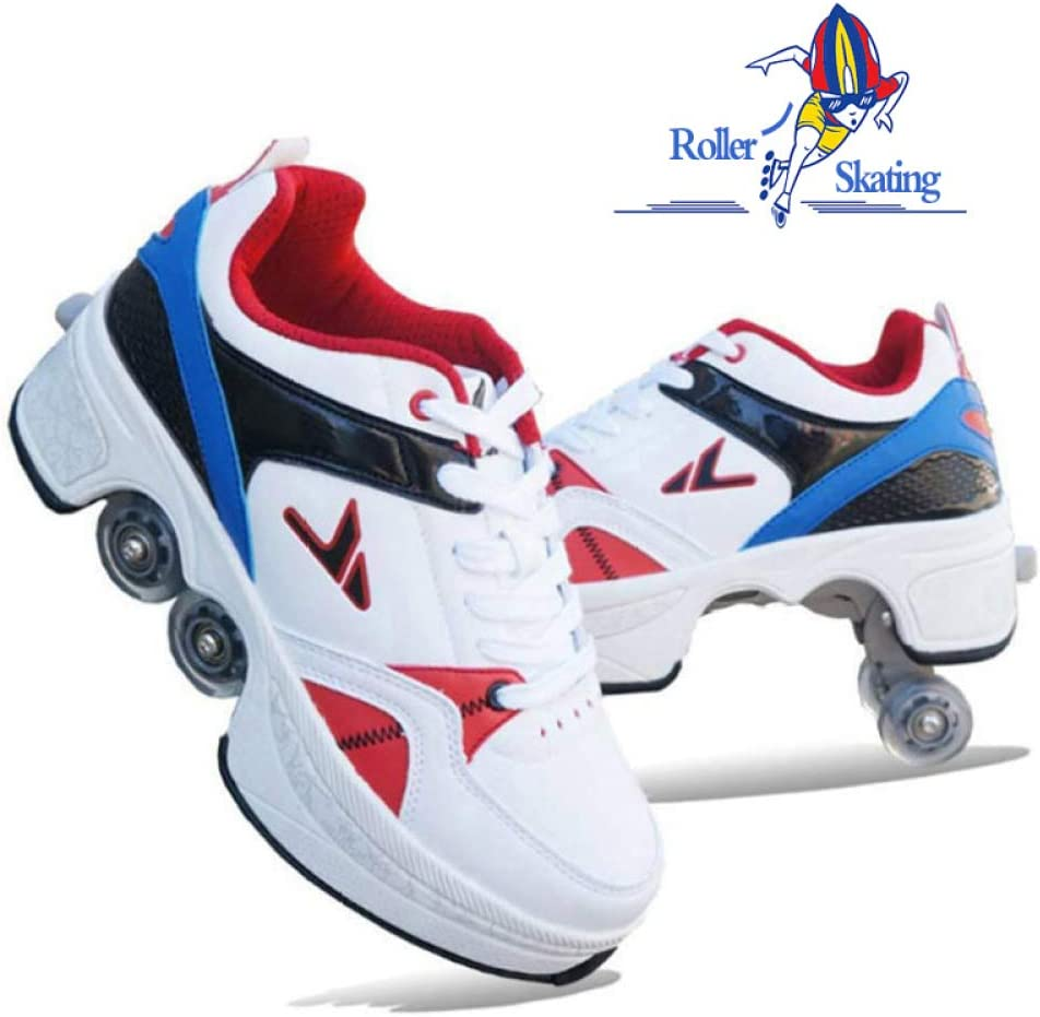 SHANGN Inline-Skate-Damen-Rollschuhe 2-in-1-Mehrzweckschuhe Verstellbare Quad-Rollschuhe F/ür Erwachsene Kinder Jungen M/ädchen Festival-Geschenkschuhe,Gray-36