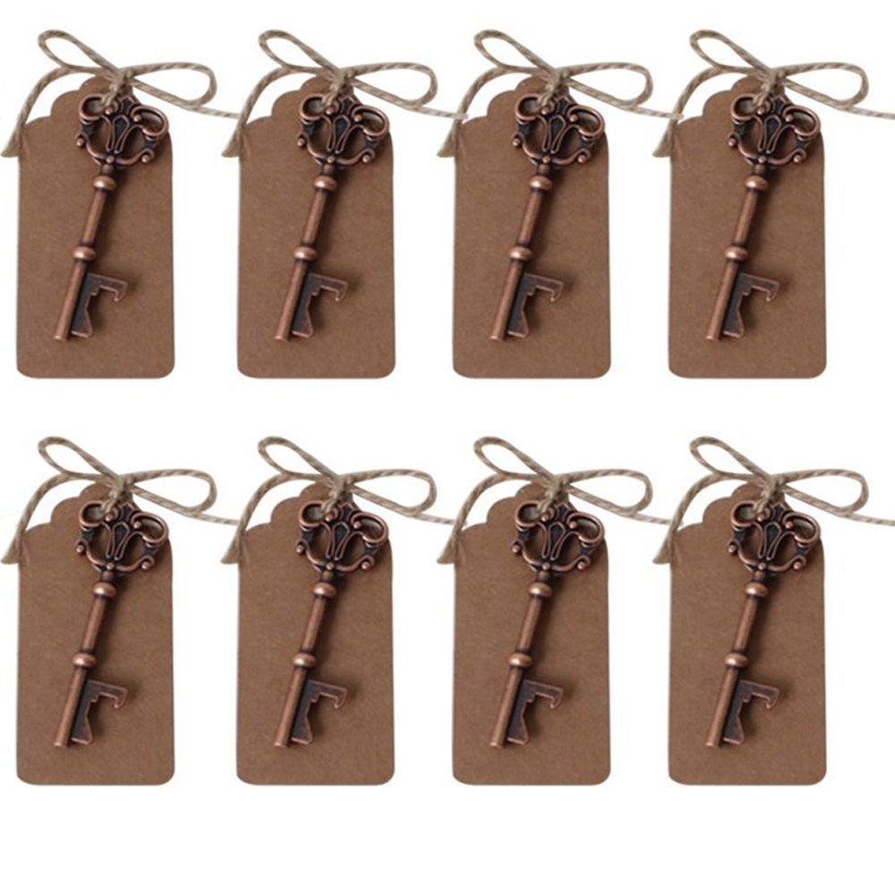 Abrebotellas AmaJOY con forma de llave con tarjeta e hilo de cobre, decoración rústica y recuerdos para boda, 40 unidades product image