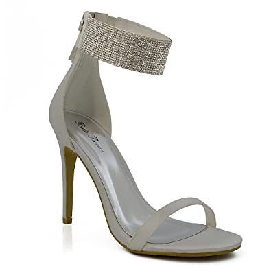 7389818c1ab ESSEX GLAM Women s Diamante Ankle Strap Stiletto Heel Ivory Satin Peep Toe Sandals  5 B(