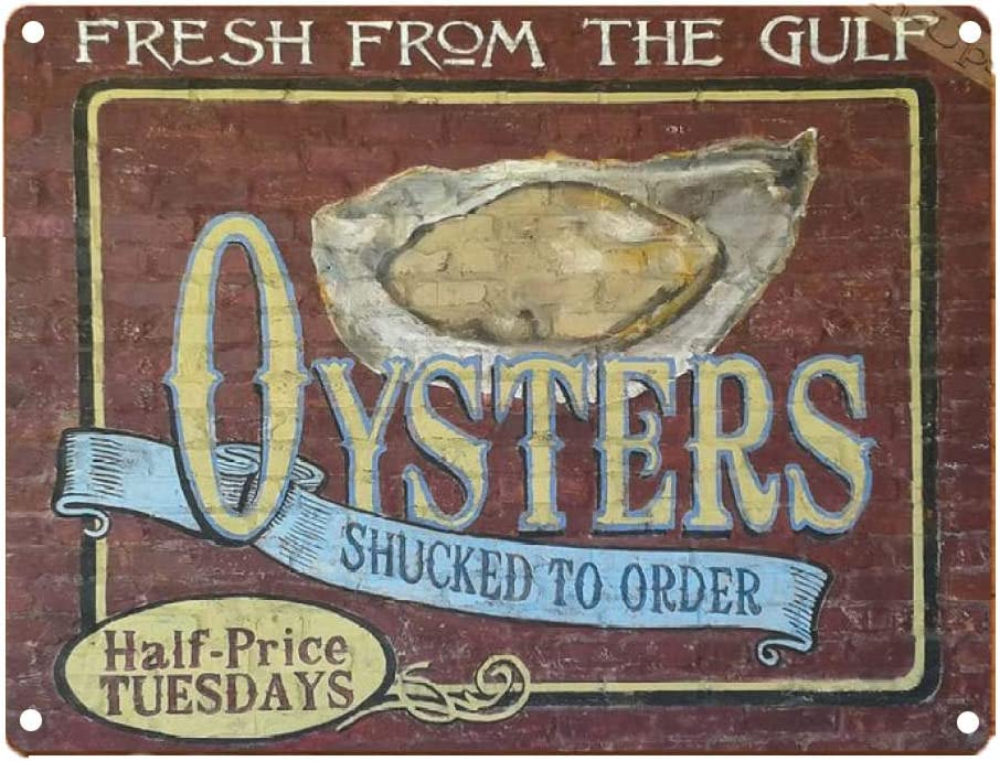 TIN Sign Fresh Oysters Louisiana New Orleans Gulf Kitchen Rustic Wall Decor Plaque Poster for Cafe Bar Pub Beer Wall Decor Art Tin Sign Group Therapy Practiced Here Vintage Metal Tin