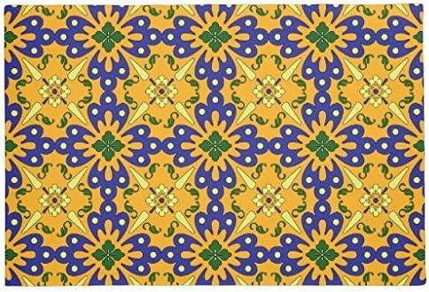 Blue And Yellow Orange Spanish Tile Pattern Floor Mats Living Room Bedroom Bathroom Kitchen Floor Mat Mat 60 X 40 Cm Rubber Floor Mats Amazon De Kuche Haushalt
