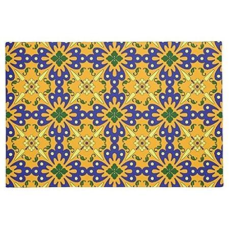 Lindeng Orange Blau und Gelb, Spanische Fliesen Muster Fußmatte für ...