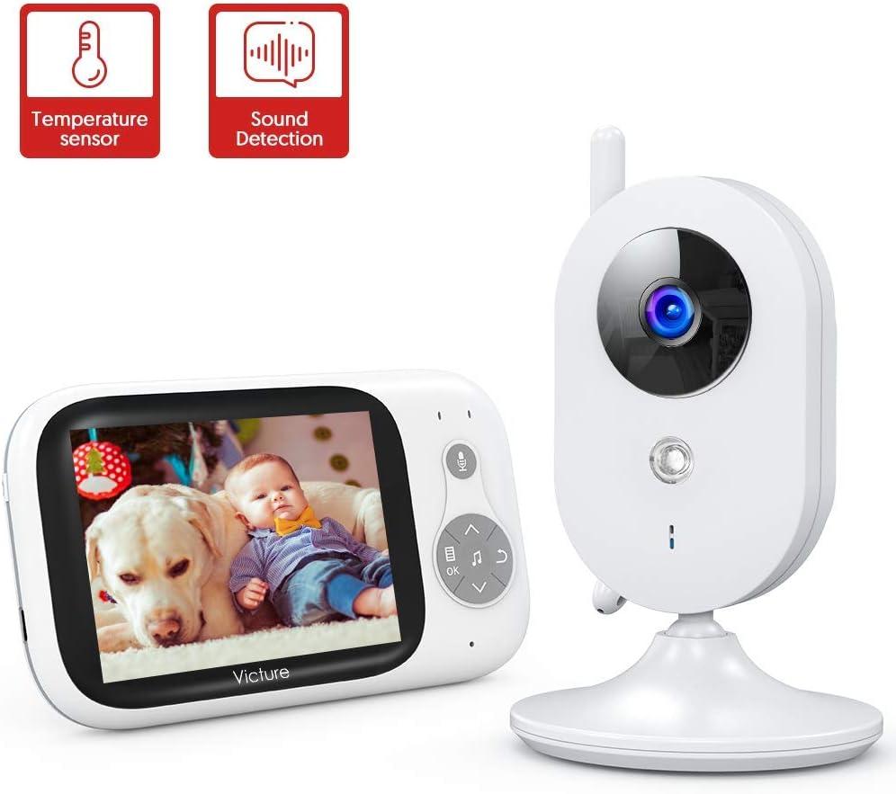 Victure Vigilabebés Inalambrico con cámara, Monitor para Bebés Digital Compatible con Infrarrojos Sala de Visión Nocturna Audio, Charla bidireccional, Canciones de Cuna, Pantalla LCD de 3.2
