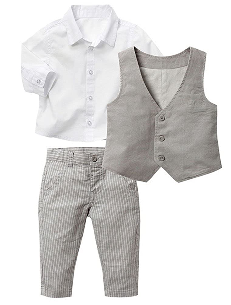 Abolai Infant Baby Kid Boy 3 Piece Vest Set Formal Wear Shirt, Vest and Pants