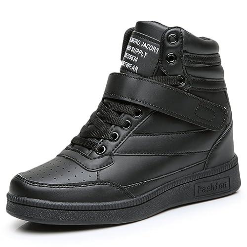 KuBua Zapatillas de Cuña Para Mujer Botines Alta Deportivos Zapatos Elevador Interior Talón Plataforma 7cm Sneakers Wedge Negro Blanco Rosa Negro EU 40: ...