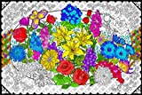 Flower Explosion - Giant 22 X 32.5 Inch Line Art Coloring Poster