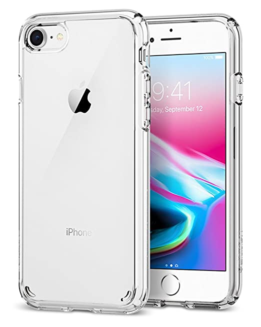 buy popular 490fd 77243 Spigen Ultra Hybrid, iPhone 7 case, iPhone 8 case with No yellowing effect,  Reinforced Camera Protection and Air Cushion Technology - Crystal Clear