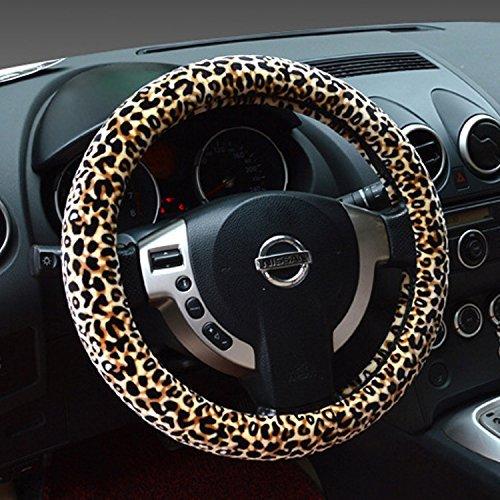 Besplore Leopard-Print Steering Wheel Cover,Plush,Beige (Prints Cover)