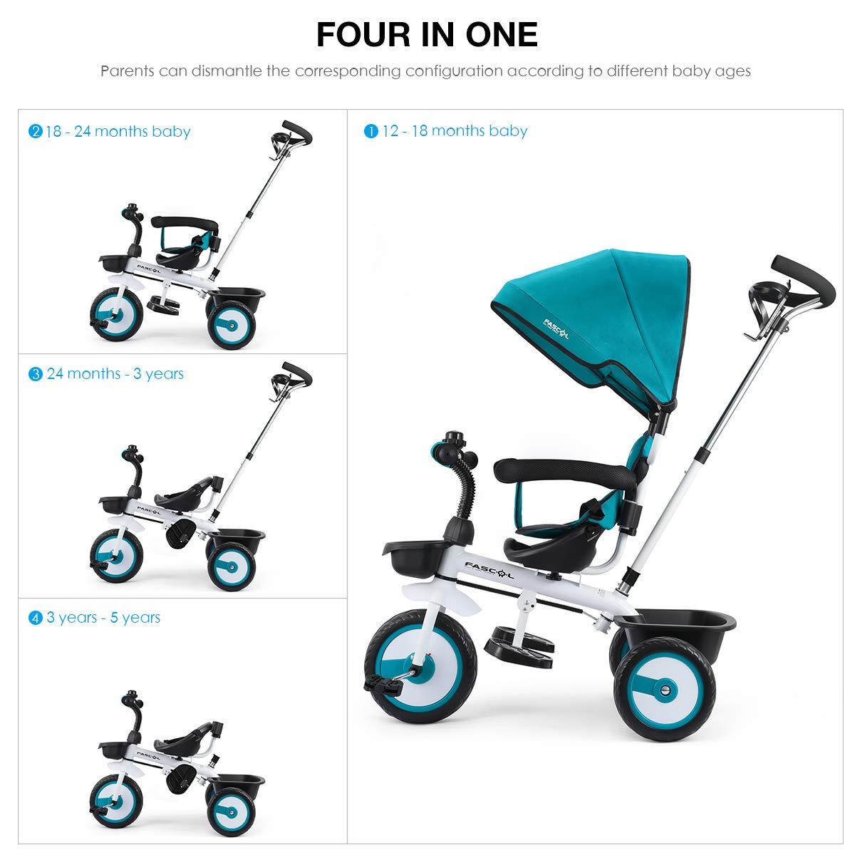 Fascol 4 en 1 Triciclo para Niños con Asiento Giratorio Adecuado ...