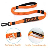 Saibit Shock Absorber Dog Lead, 2.5cm Width 110-150cm Bungee Leash with Vehicle Safety Buckle & Soft Padded Handle & Traffic Handle, Reflective Anti Pull Leads for Small and Medium Dogs (Orange)