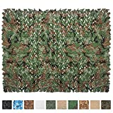 IUNIO Camouflage Netting Camo Net Blinds for Sunshade Camping Shooting Hunting Decoration (Army Green, 6.5ftx5ft 2mx1.5m)