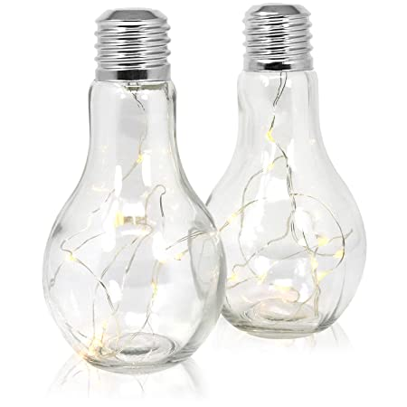 com-four® 2X Deko Glas-Glühbirne mit 10 LEDs, batteriebetriebene LED Lampe, kabellose LED Deko Tisch-Leuchte, ca. 18,5 x 9 cm