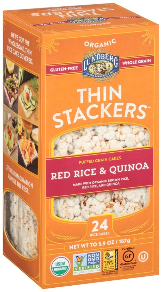 Lundberg Family Farms Organic Thin Stackers Grain Cakes, Red Rice and Quinoa, 5.9 Ounce (Pack of 12) by Lundberg