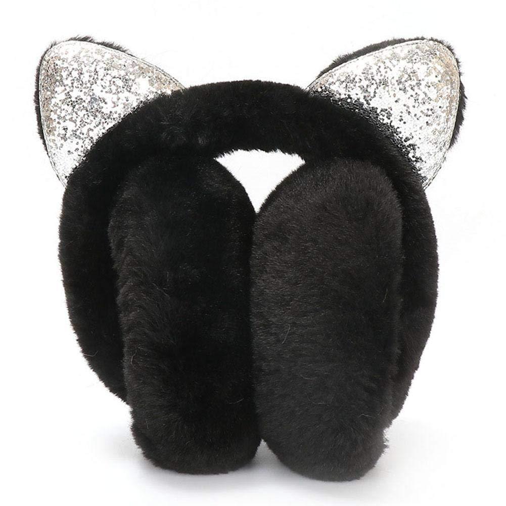 Ear Warmer Muffs Foldable Cat Ear Earmuffs Headphones Ear Muffs Winter Earmuffs Sequin Women Girl Fur Plush Glitter Headband Cartoon 3D Earlobe