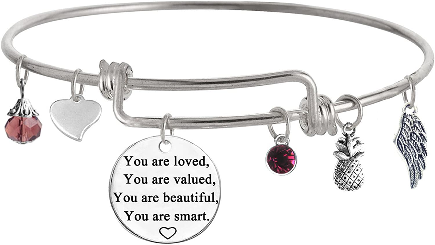 TISDA You are Loved You are Valued You are Beautiful You are Smart Inspirational Jewelry Bracelet Expandable Bangle Gift for Women girl