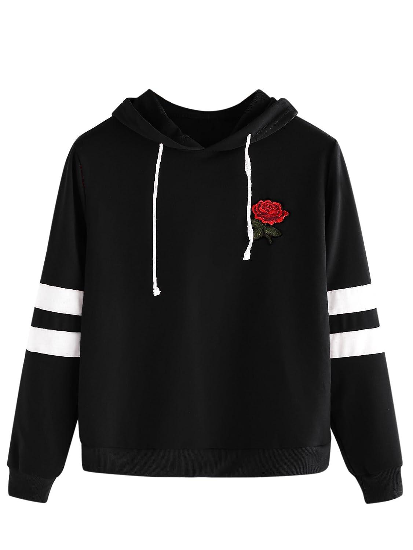 DIDK Women's Embroidered Rose Patch Stripe Sleeve Hoodie Sweatshirt