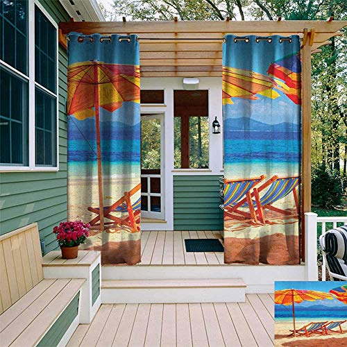 leinuoyi Seaside, Outdoor Curtain Ends, Deck Chairs Overlooking Tropical Sea of Thailand Beach Exotic Holiday Picture, for Patio W96 x L108 Inch Orange Blue