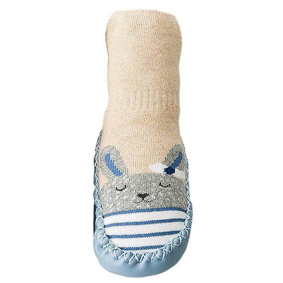 BOZEVON Calcetines Zapatillas para Bebés Niña Niño Antideslizantes Dibujo de Animal Lindo Calcetines Prewalkers Zapatos 0