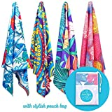 Microfibre Beach Towel for Travel - Quick Dry, Sand Free, Travel Beach Towel in Designer Paisley, Tropical & Boho Beach Towel Prints for Beach, Travel, Cruise, Outdoor, Gifts for Women 175 x 100cm (X-Large, Tropical Blue)