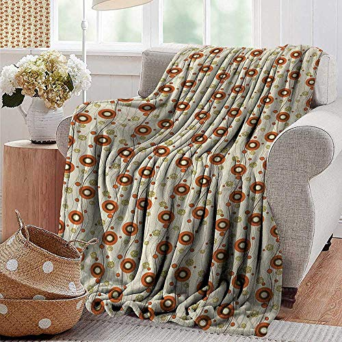 (XavieraDoherty Luxury Flannel Fleece Blanket,Vintage,Abstract Poppy Designs with Vertical Curved Lines Nature Illustration,Burnt Sienna Brown Beige,All Season Light Weight Living Room/Bedroom 35
