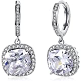 Yellow Chimes White Sparkling Crystal Drop Earrings for Women (White) (YCFJER-163BNDEDG-WH)