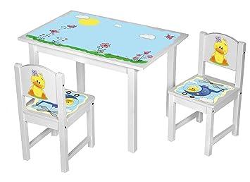 Kinderstuhl Kindertisch Kindermobel Massiv Holz Weiss Mit Motiv Grosse