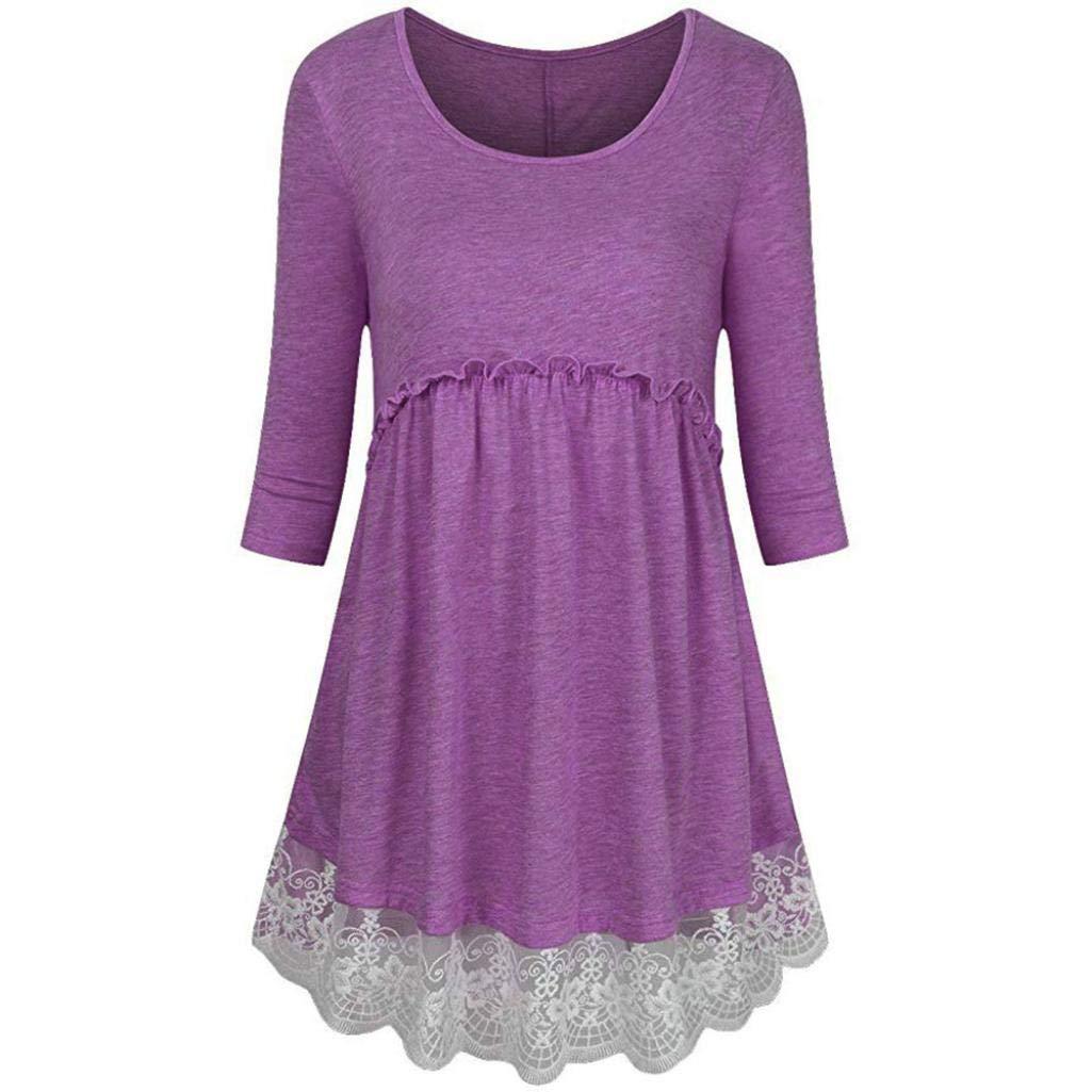 Bafaretk Womens Plus Size 3/4 Sleeve Empire Waist Blouse Lace Splicing Tunic Pullover Tops (XL, Purple) by Bafaretk