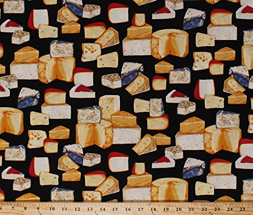 Cotton Kiss the Cook Cheeses Swiss Gouda Cheddar Cheese Blocks Dairy Culinary Kitchen Gourmet Food Cooking Black Cotton Fabric Print by the Yard (amk-15193-2)