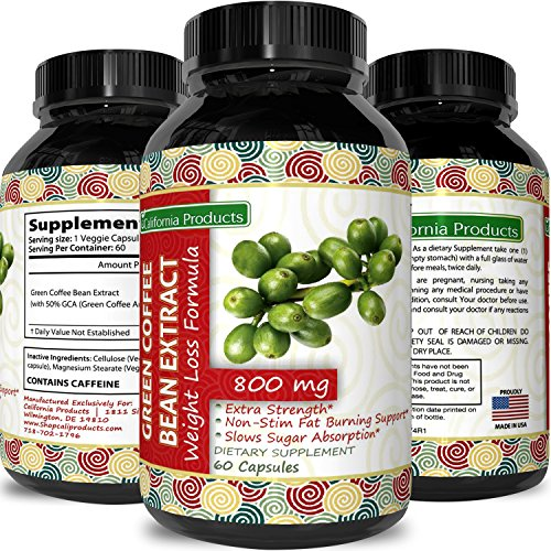 100% Impeccable Green Coffee Bean Extract ● Highest Quality 800 Mg ● Best Formula for Weight Loss on the Market - Women & Men ● Guaranteed By California Products