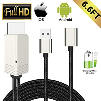 Compatible with iPhone iPad Android Phones MHL to HDMI Cable, WEILIANTE  6 6ft 1080P HD USB Type C/Micro USB to HDMI Cable for iPhone XS/X/XR/8/7/6