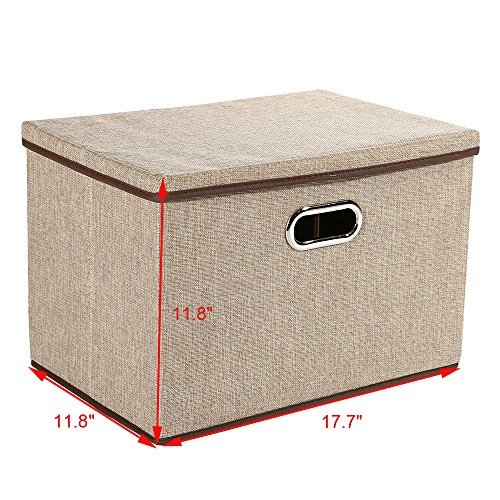 Baby Nursery Bag Storage bins,okdeals Storage Box Cubes Organizer Large Foldable Storage Containers with Removable Lid and Stainless Steel Handles,Set of 3 (Khaki) by okdeals (Image #2)