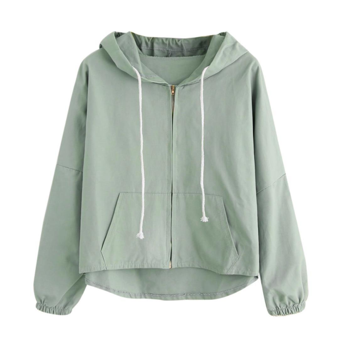 WM&MW Rabbit Ear Hoodie Jacket,Women Girls Loose Pocket Cute Hooded Zipper Short Coat Outwear (S, Green) by WM&MW