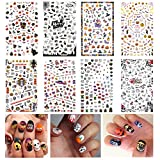 #4: TailaiMei Halloween Nail Decals Stickers, 8 Sheets 825 Pcs Self-adhesive DIY Nail Art Tips Stencil for Halloween Party, Include Pumpkin/Bat/Ghost/Witch etc