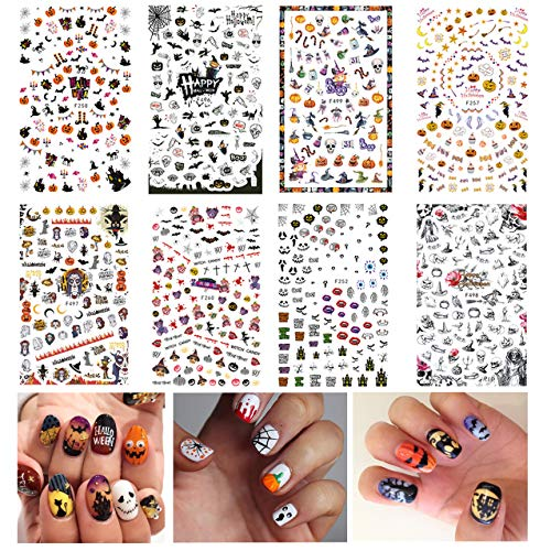 TailaiMei Halloween Nail Decals Stickers, 8 Sheets 1000+ Pcs Self-adhesive DIY Nail Art Tips Stencil for Halloween Party, Include Pumpkin/Bat/Ghost/Witch etc