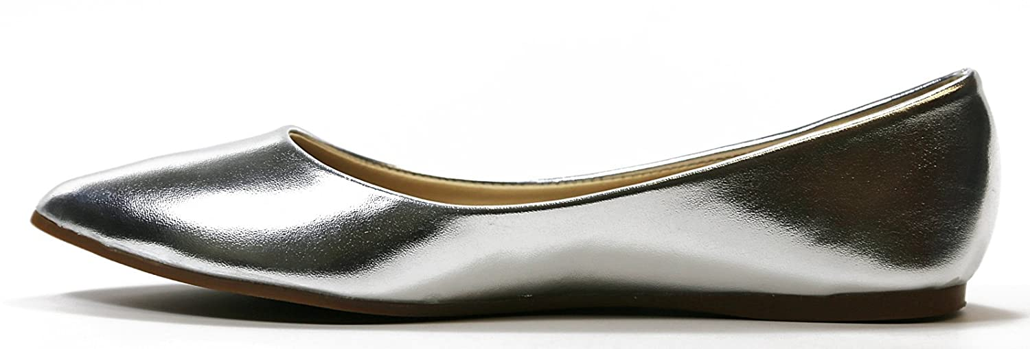 Walstar Women's Basic Point Toe Ballet Flats B0160DCDNM 6.5 B(M) US|Metallic Silver