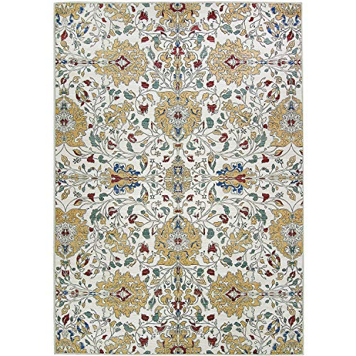 RUGGABLE Washable Stain Resistant Indoor/Outdoor, Kids, Pets, and Dog Friendly Area Rug 5'x7' Traditional Floral Cream (Large Floral Cream)