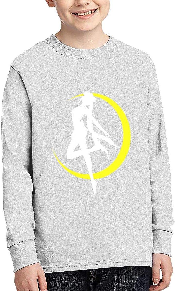 XTYND556 Sailor Manga Moon Cotton Crew Neck Long Sleeve Graphic T-Shirt for Boys Girls