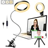 Video Conference Lighting, GINAVE LED Desk lamp with Clip and Detachable 360 ° Flexible Gooseneck, Zoom Lighting for Computer