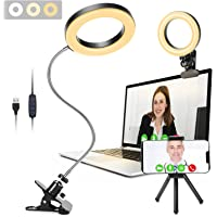 Video Conference Lighting, GINAVE LED Desk lamp with Clip and Detachable 360 ° Flexible Gooseneck, Zoom Lighting for…