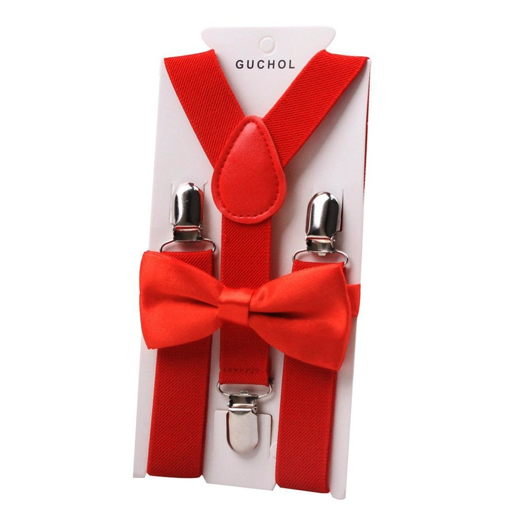 BAOBAO Kids Elastic Suspenders /& Bow Tie Set Party Costomes Accessories
