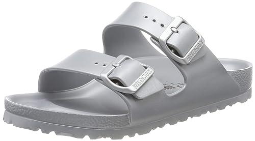 BIRKENSTOCK ARIZONA 38 Badeschuhe Grau Silber Schuhe Slipper