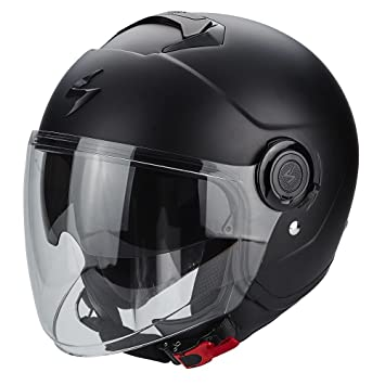 Casco Scorpion tipo jet, color negro mate, con visera