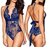 ALLovable Women Sexy Lingerie See-Through Backless Lace Babydoll Open Crotch Teddy Underwear Black (S, Blue)