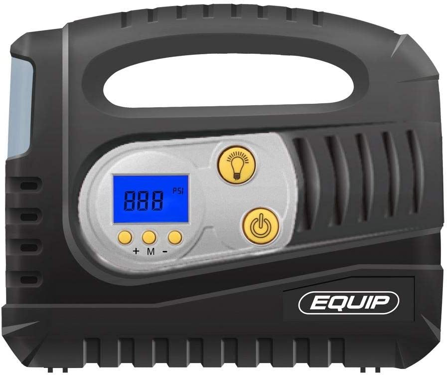 ETI005 Equip Rapid Digital Tyre Inflator 12V Air Compressor Tyre Pump with LED Light /& Valve Adaptors