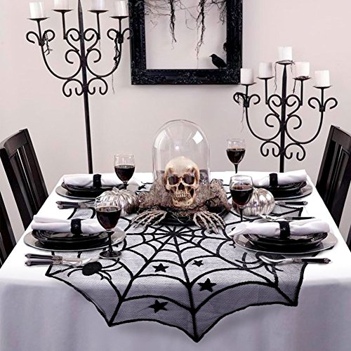 Halloween Spider Web Black Lace Table Topper - Cobweb Round Tablecloth for Halloween House Party Decoration, Dinners, 40